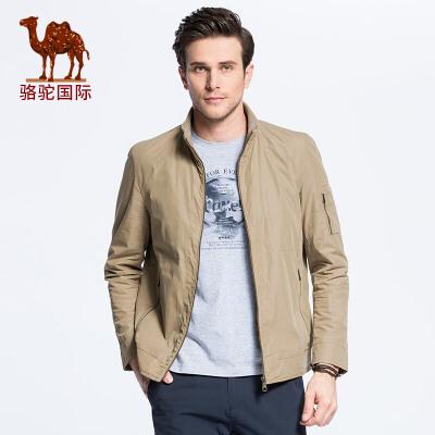骆驼男装 新款时尚男士商务休闲纯色立领夹克外套男