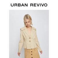 UR2020春季新品女装气质西装领垫肩翻领夹克外套WG09S1EN2000