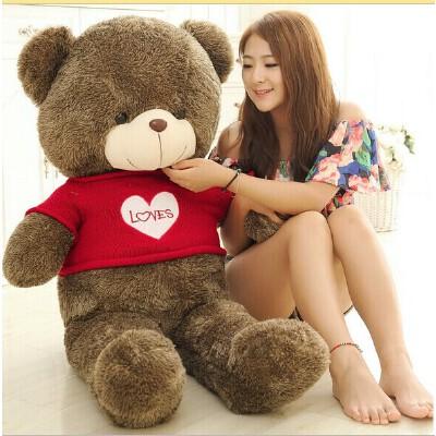 毛衣抱抱熊毛绒玩具泰迪熊公仔布娃娃玩具 熊熊是平躺拉直测量1m衣服颜色可以留言