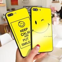 夏天笑脸新款苹果7plus手机壳镜面玻璃iphone8保护套X开心彩绘可爱XS MAX硬壳抢眼色6s创意潮款7XR包软