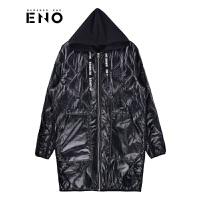 BURANDOENO潮牌男式时尚连帽棉服中长款休闲2018秋冬新款外套E18F41MPJ057