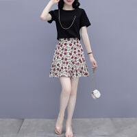 千喜步步高2021夏季新款时尚显瘦小个子潮t恤+碎花短裙减龄两件套套装