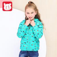 小猪班纳童装女童羽绒服短款2017冬装新款中大童上衣儿童保暖外套
