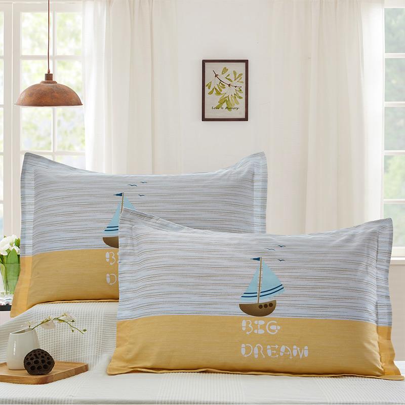 当当优品 纯棉斜纹印花枕罩 48*74 对装 波尔尼(黄)当当自营 100%纯棉 无甲醛 柔软舒适 透气性好 2个装