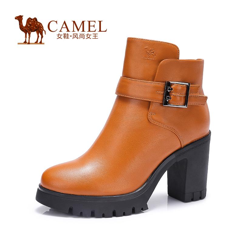 Camel/骆驼女鞋 时尚 春季新品 头层油腊牛皮圆头高跟女靴
