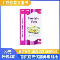 进口英文原版Three- Letter Words英文启蒙闪卡 0-3岁