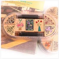 古典边角花边套装可爱印章组 7枚印章+2印泥笔