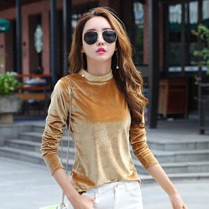 长袖t恤女秋季新款纯色金丝绒体恤衫韩版套头半高领打底上衣
