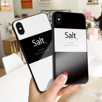 黑白风Salt7苹果xr手机壳玻璃文字iPhone7plus保护套个性创意8防摔网红潮男6s情侣款6简洁X少女xs m
