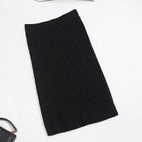 冬季包臀裙半身短裙毛线显瘦高腰裙修身针织一步裙打底裙加厚裙子 S 80-99斤