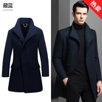 男士冬季毛呢大衣中长款韩版呢子风衣修身英伦风双面羊绒妮子外套
