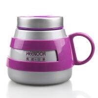 希诺不锈钢真空保温杯 创意大肚杯 女士办公带把水杯340ML XN-8622