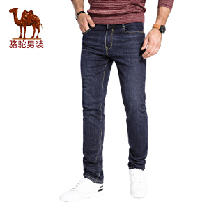 骆驼男装 2017秋季新款商务休闲青年男士牛仔裤直筒水洗修身长裤