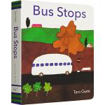英文原版绘本0 3岁 纸板书 Bus Stops 巴士到站了 五味太郎 Taro Gomi 入门启蒙趣味绘本