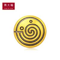 周大福珠宝首饰电黑足金黄金转运珠R20154甄选