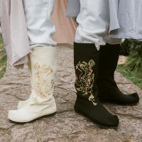 秋冬民族风汉服男女CP布靴九尾传统绣花翘头靴子情侣中国风布鞋