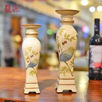墨菲 �e韵 欧式宫廷复古精美彩绘树脂烛台田园做旧客厅餐桌装饰品摆件