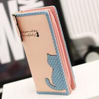 【支持礼品卡支付】长款钱包女式糖果色可爱韩国小清新日韩女士半边猫钱包长款MW-M0835