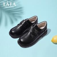 【券后价:142.9元】他她Tata童鞋男童皮鞋中大童小男孩软底黑色学生鞋校园英伦儿童演出鞋