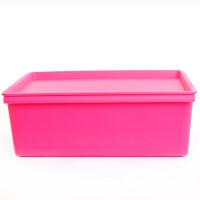 卡秀 大号炫彩 整理箱 储物盒 收纳箱 化妆盒 杂物 衣物百纳箱-玫红色(KX623-3