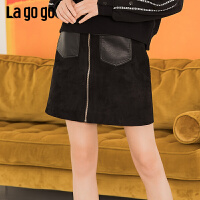 Lagogo2019年新款拼接黑色高腰A字半身裙女拉链纯色休闲短裙