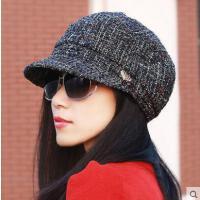 名媛淑女帽显瘦平顶帽子女户外新款韩版休闲潮粗纹贝雷帽女士鸭舌帽时尚简约帽