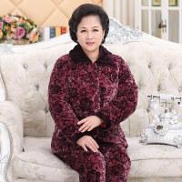 冬季中老年珊瑚绒加大码家居服套装法兰绒加绒三层夹棉睡衣女加厚