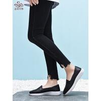 妈妈单鞋软底舒适中老年工作鞋平底孕妇镂空透气小白鞋一脚蹬