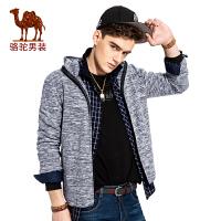 CAMEL骆驼 男装户外休闲夹克外套 秋季新款男士连帽宽松休闲大码开衫上衣