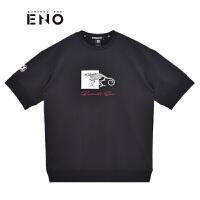 BURANDOENO潮牌新品圆领男时尚印花短袖T恤E18W81MSS118