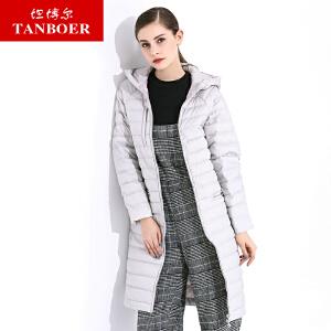 坦博尔2017新款羽绒服女轻薄中长款红色直筒韩版时尚羽绒服TB3776
