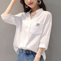 新款优雅修身女衬衫七分袖白色衬衫女2018新款竖条纹白衬衣棉宽松小清新口袋上衣 白色
