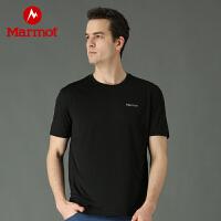 Marmot/土拨鼠夏季新款户外运动男式轻薄弹力吸湿排汗短袖速干T恤