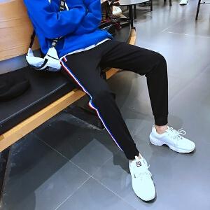 青少年港风新款修身束脚男士韩版休闲裤青年运动裤子哈伦长裤1