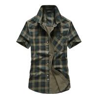 夏装新款吉普 JEEP大码休闲纯棉格子短袖衬衫 男士半袖商务休闲衬衫尖领潮