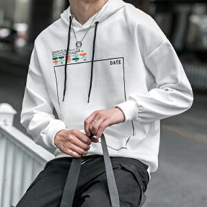 卫衣男士潮流长袖子2018新款青少年男装运动衫白色宽松显�l