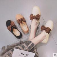 单鞋女百搭潮款新款女鞋子一脚蹬懒人鞋甜美蝴蝶结纯色平跟休闲鞋