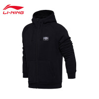 李宁卫衣男士运动时尚系列开衫外套连帽加绒保暖运动服AWDM883