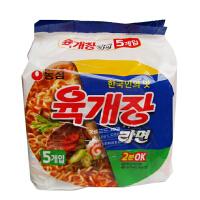 韩国进口食品 农心 辣牛肉汤面(5连包)116g/袋*5