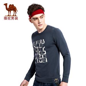骆驼男装 2017秋季新款套头圆领舒适男士卫衣时尚印花男上衣
