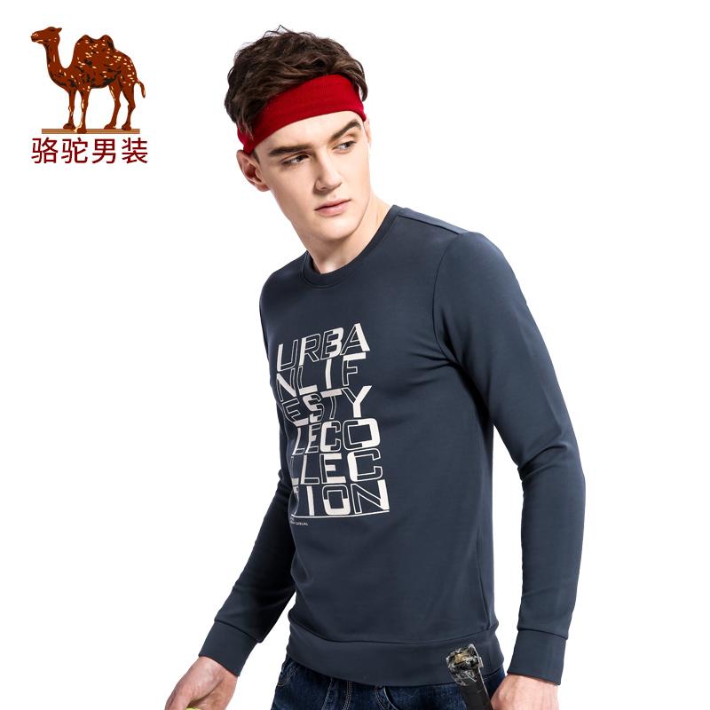 骆驼男装 秋季新款套头圆领舒适男士卫衣时尚印花男上衣