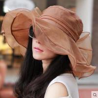 韩版薄款透气雪纺大蝴蝶沙滩太阳帽凉帽女士海边休闲防紫外线帽防晒帽子