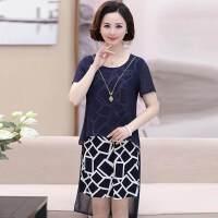 妈妈夏装时尚短袖连衣裙女40-50岁中年人夏季圆领上衣套装裙子女