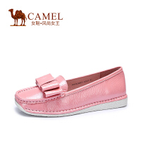 骆驼女鞋 春新款休闲懒人鞋 漆皮蝴蝶结乐福鞋 套脚低跟简约单鞋