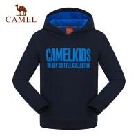 camel骆驼童装秋冬季儿童带帽卫衣中大童加厚微弹运动上衣