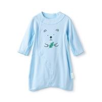 全棉时代蓝色婴儿针织罗纹妙妙衣1件装