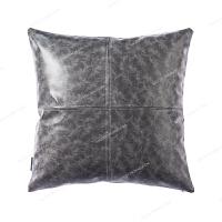 皮靠垫沙发抱枕办公室pu仿真皮质靠枕汽车护腰靠垫腰枕靠背垫 FM-01 灰色