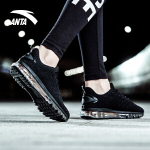 安踏女鞋跑鞋 2018新款跑步鞋全掌气垫鞋缓震透气轻便休闲运动鞋