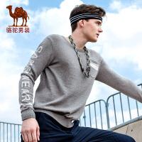 骆驼男装 秋季新款圆领男士修身毛衣圆领撞色时尚上衣
