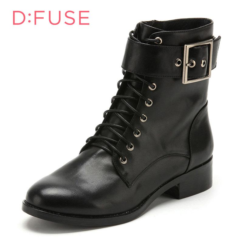 D:Fuse/迪芙斯马丁靴秋冬牛皮革方跟圆头皮带扣欧美休闲女短靴 DF54115001